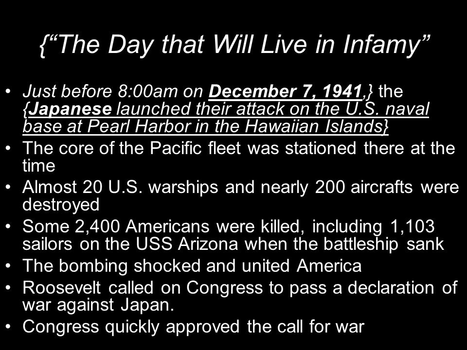 { The Day that Will Live in Infamy