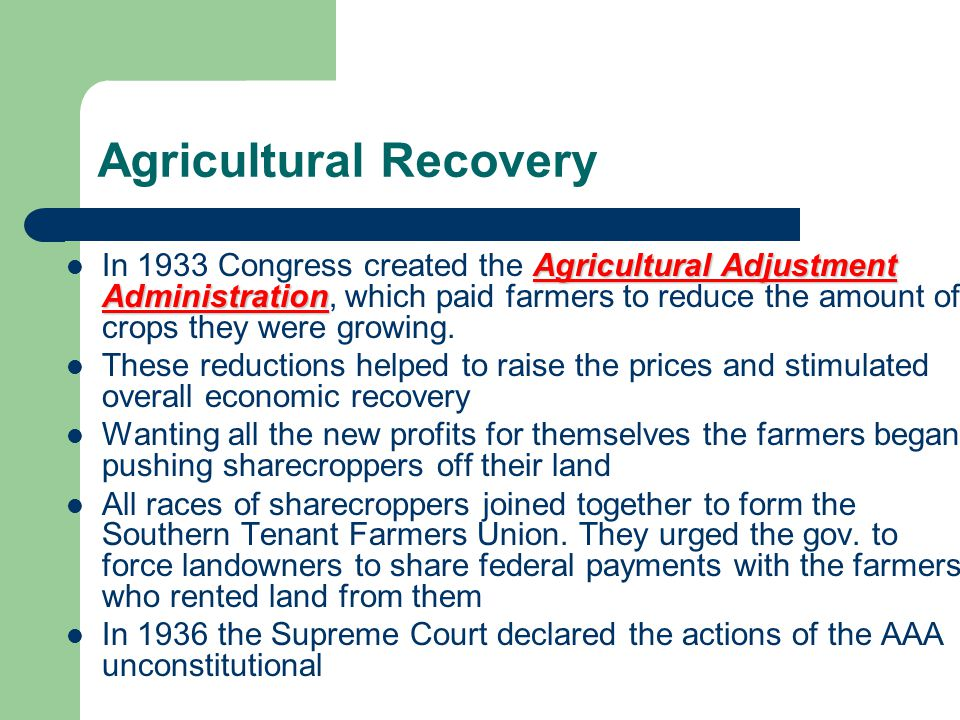 Agricultural Recovery