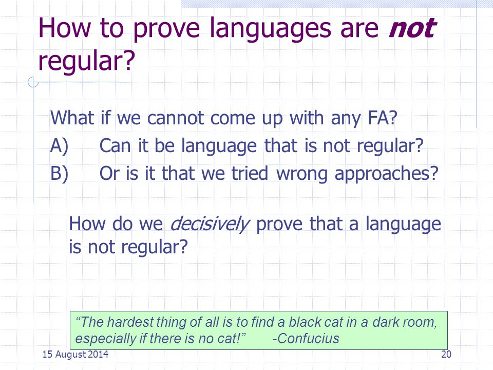 How to prove languages are not regular