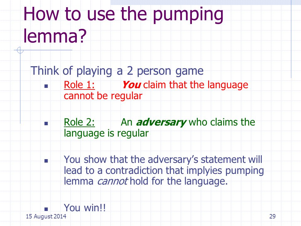 How to use the pumping lemma