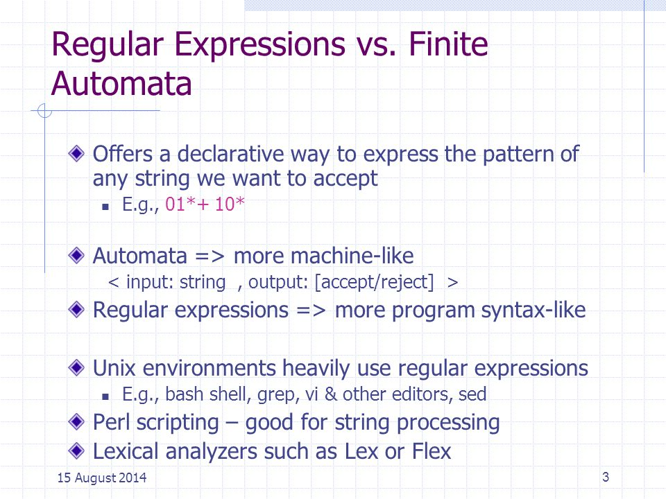 Regular Expressions vs. Finite Automata