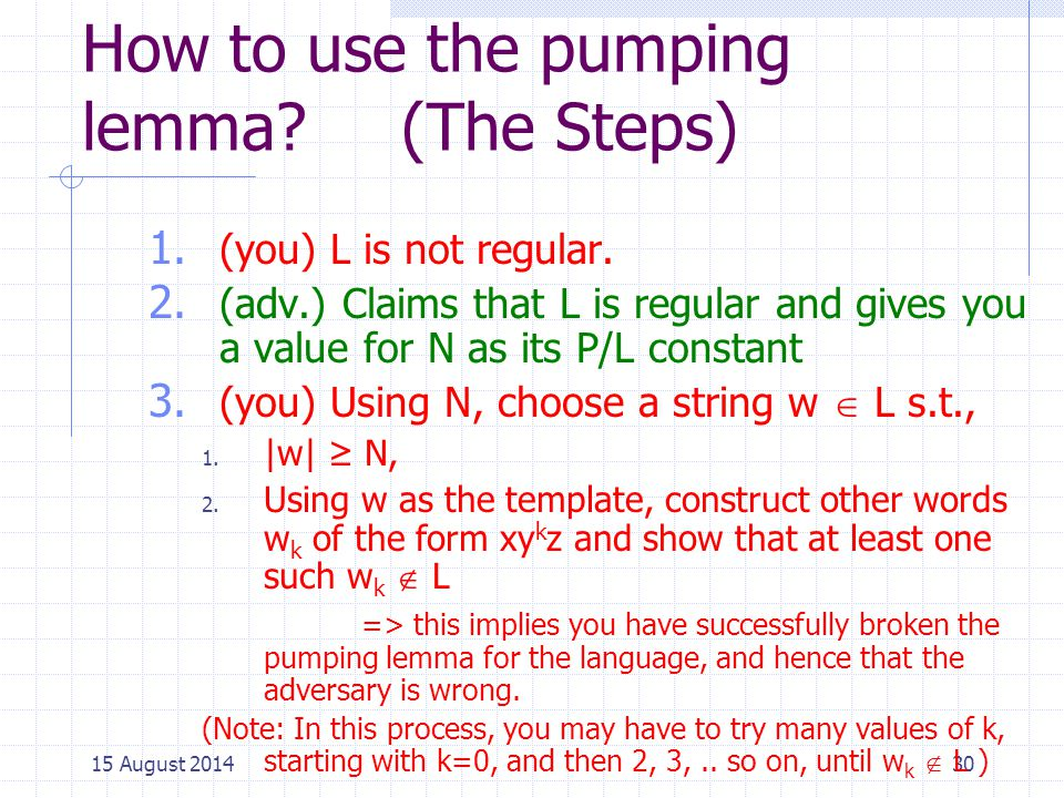 How to use the pumping lemma (The Steps)