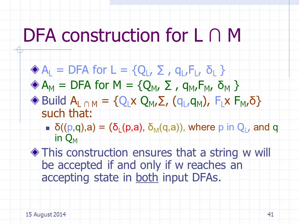 DFA construction for L ∩ M