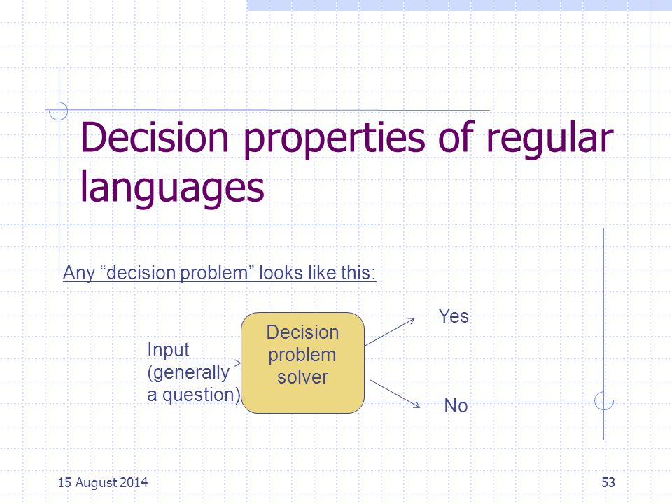 Decision properties of regular languages