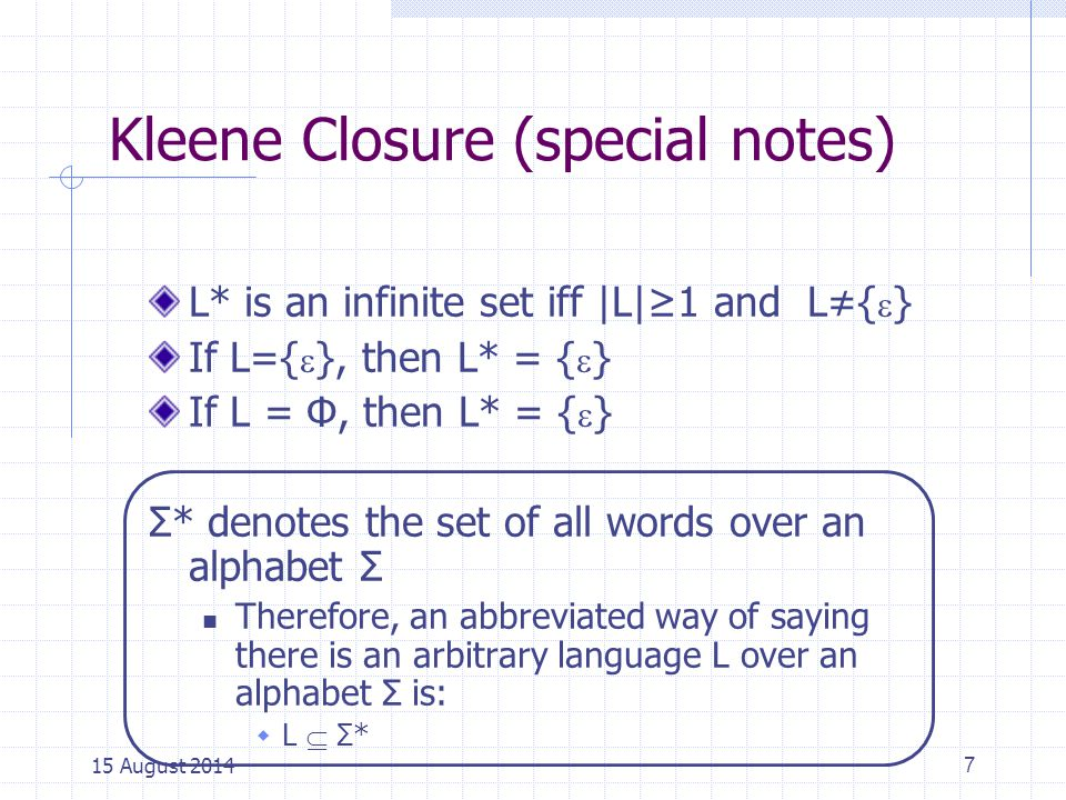 Kleene Closure (special notes)