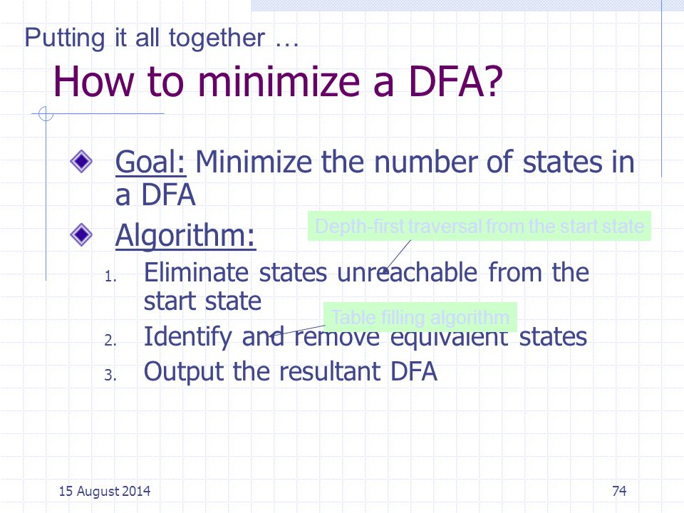 How to minimize a DFA Goal: Minimize the number of states in a DFA