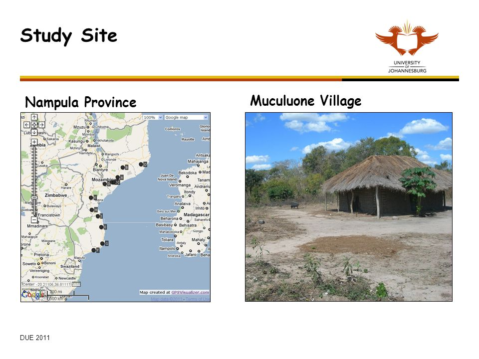 Study Site Nampula Province Muculuone Village DUE 2011