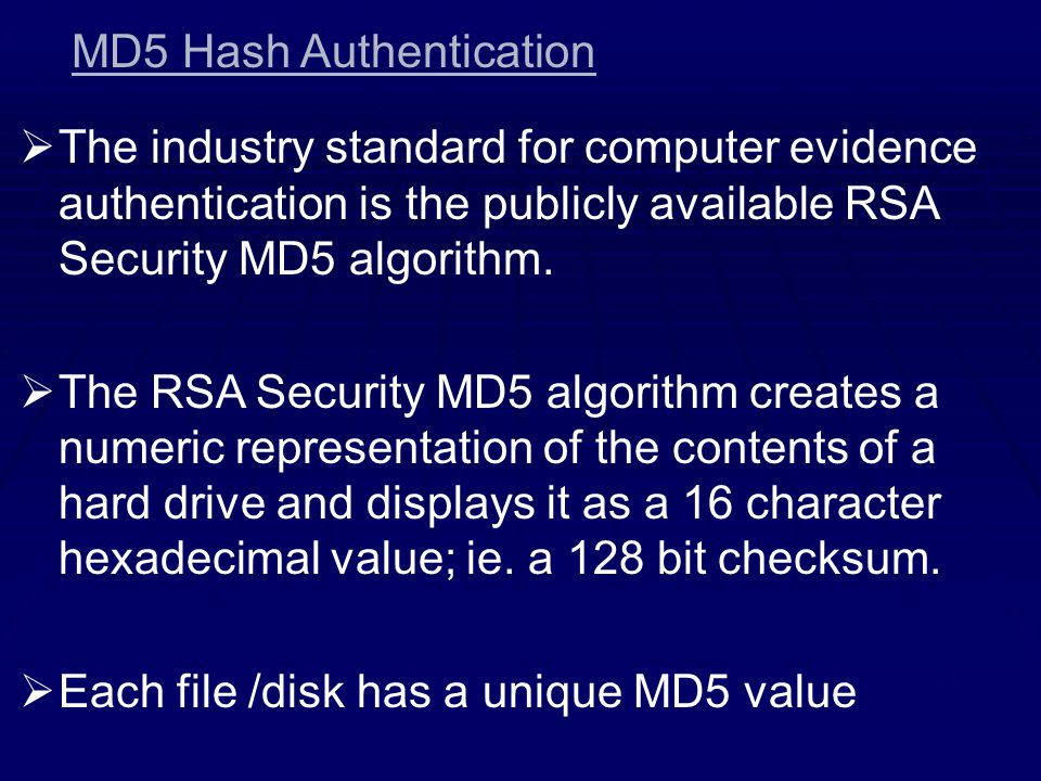 MD5 Hash Authentication