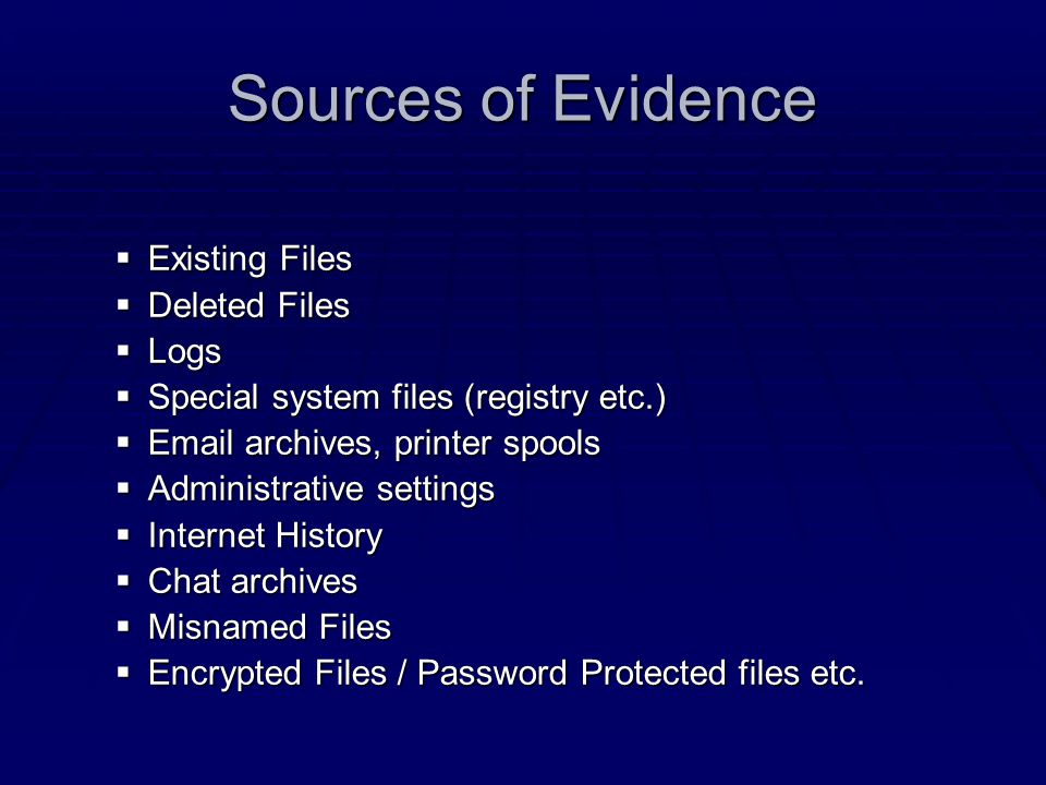 Sources of Evidence Existing Files Deleted Files Logs