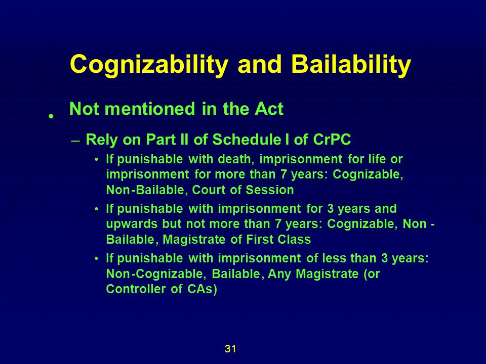 Cognizability and Bailability Not mentioned in the Act • 31 –