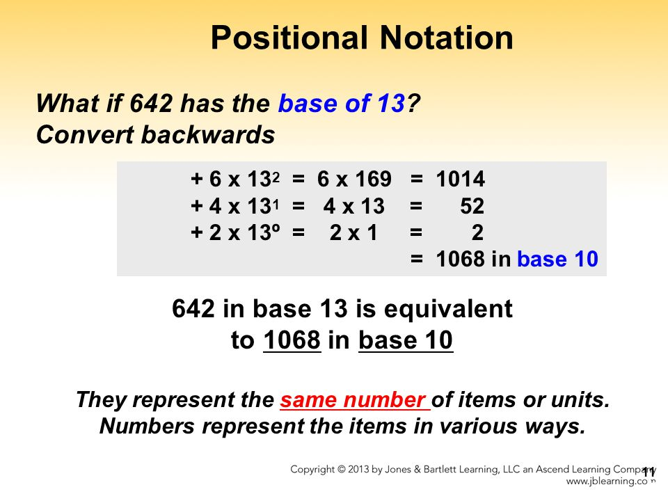 Positional Notation What if 642 has the base of 13 Convert backwards