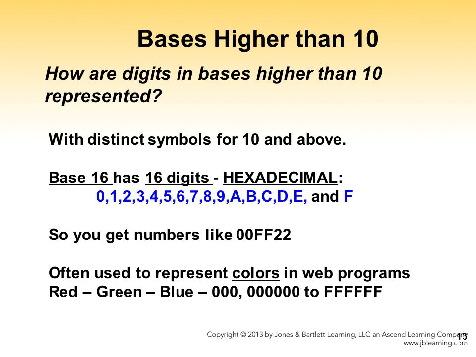 Bases Higher than 10 How are digits in bases higher than 10 represented With distinct symbols for 10 and above.
