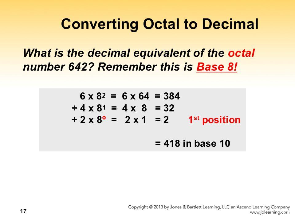 Converting Octal to Decimal