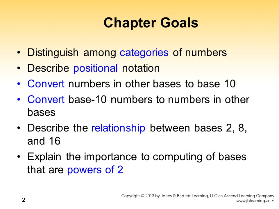 Chapter Goals Distinguish among categories of numbers