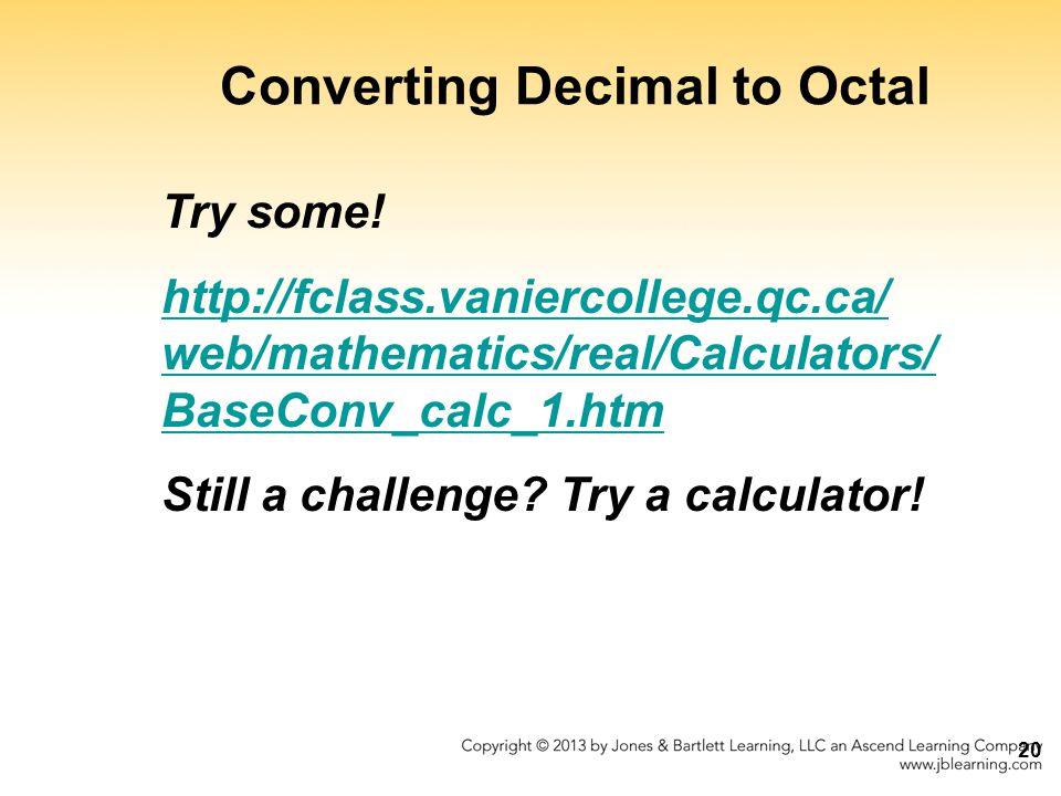 Converting Decimal to Octal