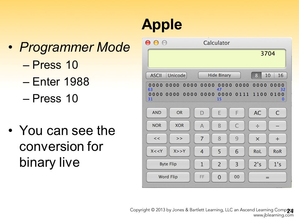Apple Programmer Mode You can see the conversion for binary live