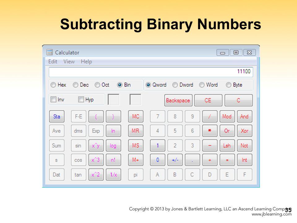 Subtracting Binary Numbers