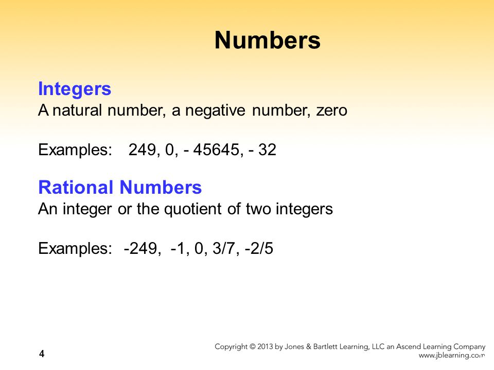 Numbers Integers Rational Numbers