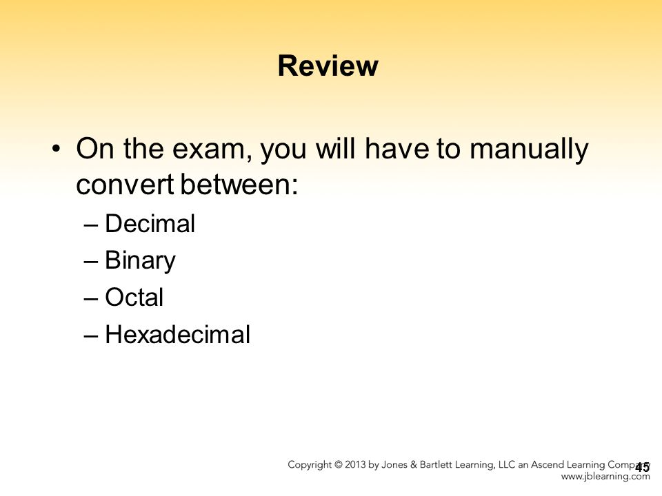 On the exam, you will have to manually convert between: