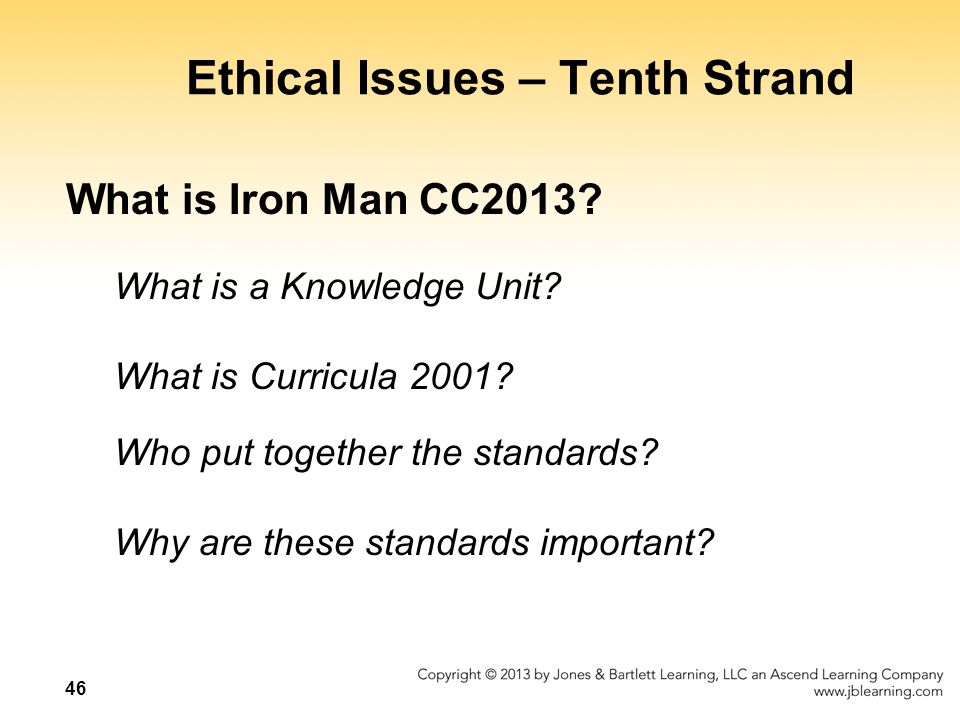 Ethical Issues – Tenth Strand