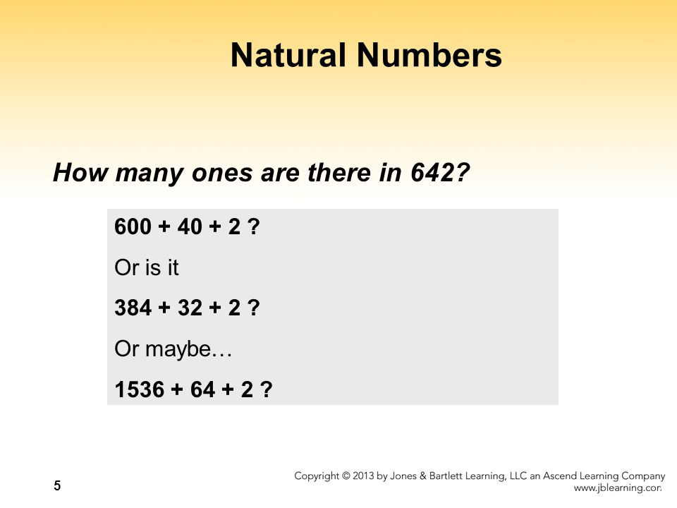 Natural Numbers How many ones are there in 642 600 + 40 + 2
