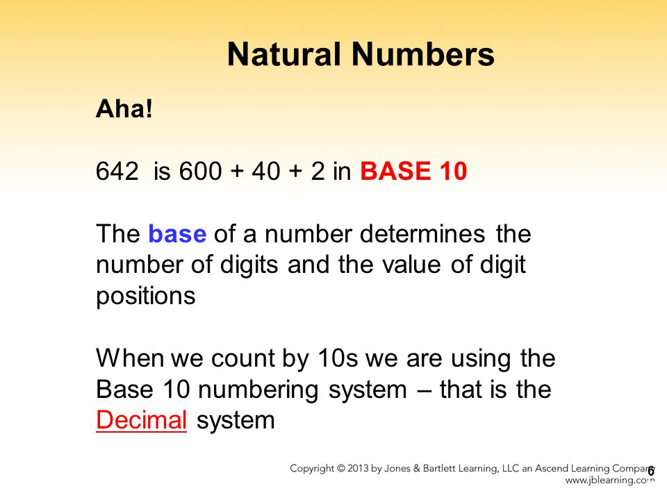 Natural Numbers Aha! 642 is 600 + 40 + 2 in BASE 10