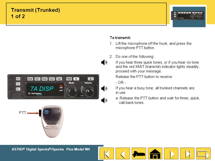 7A DISP Transmit (Trunked) 1 of 2 To transmit: