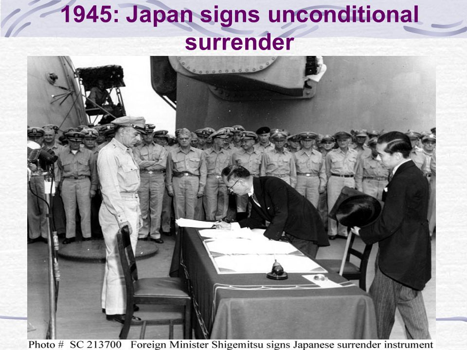 1945: Japan signs unconditional surrender