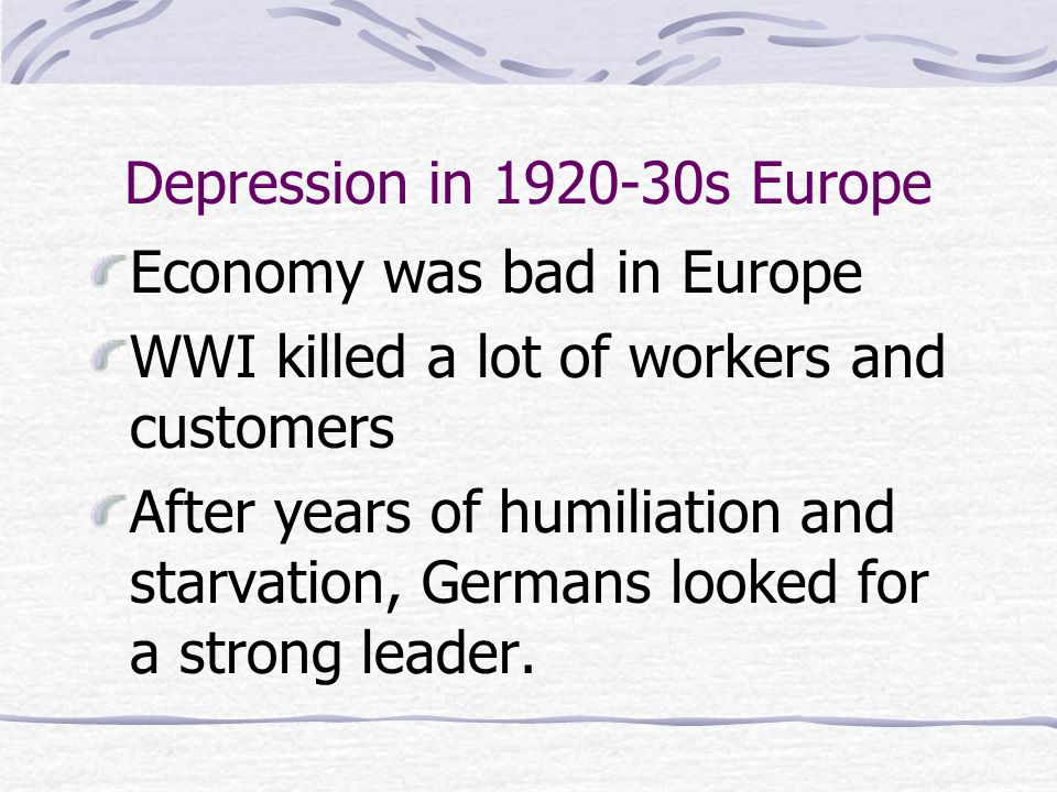 Depression in 1920-30s Europe