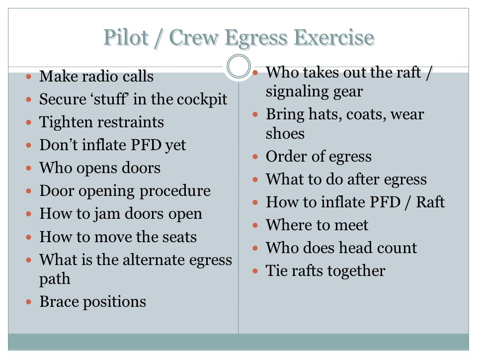 Pilot / Crew Egress Exercise