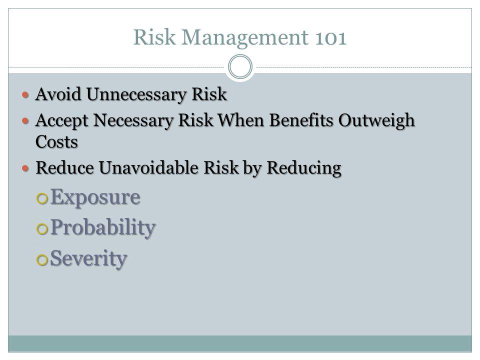 Risk Management 101 Exposure Probability Severity