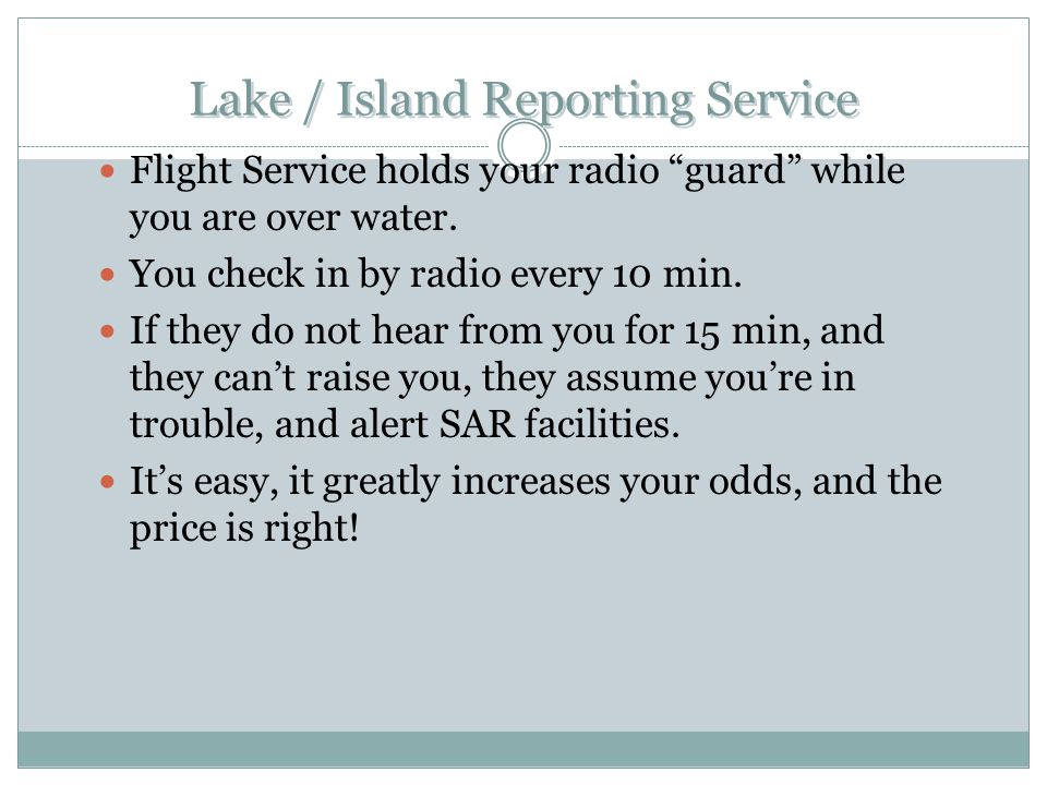Lake / Island Reporting Service