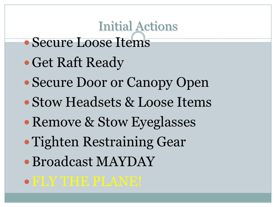 Secure Door or Canopy Open Stow Headsets & Loose Items