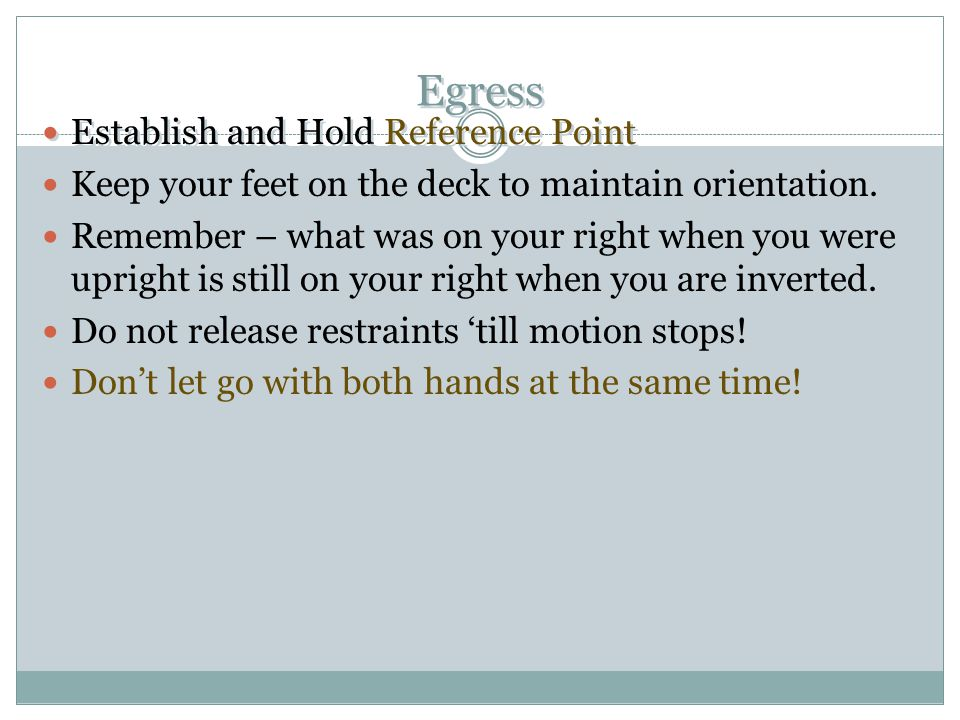 Egress Establish and Hold Reference Point