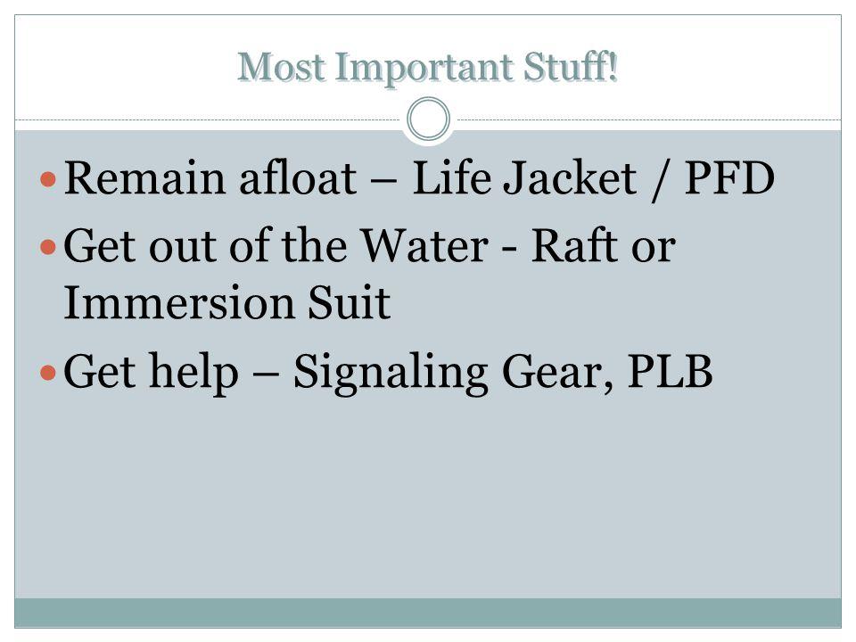 Remain afloat – Life Jacket / PFD