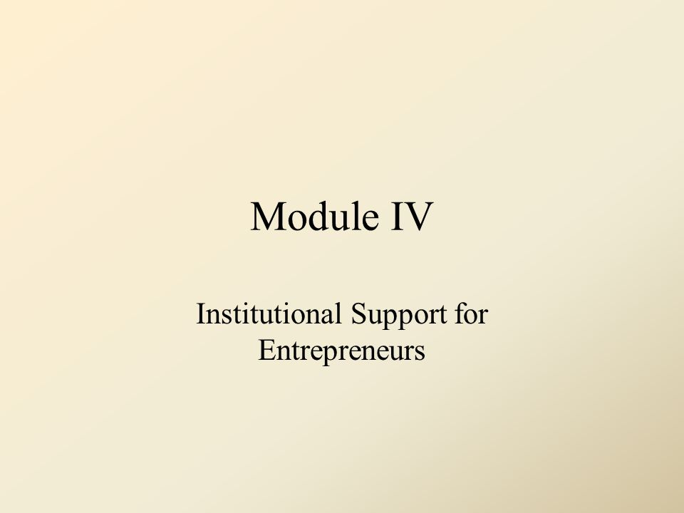 Institutional Support for Entrepreneurs