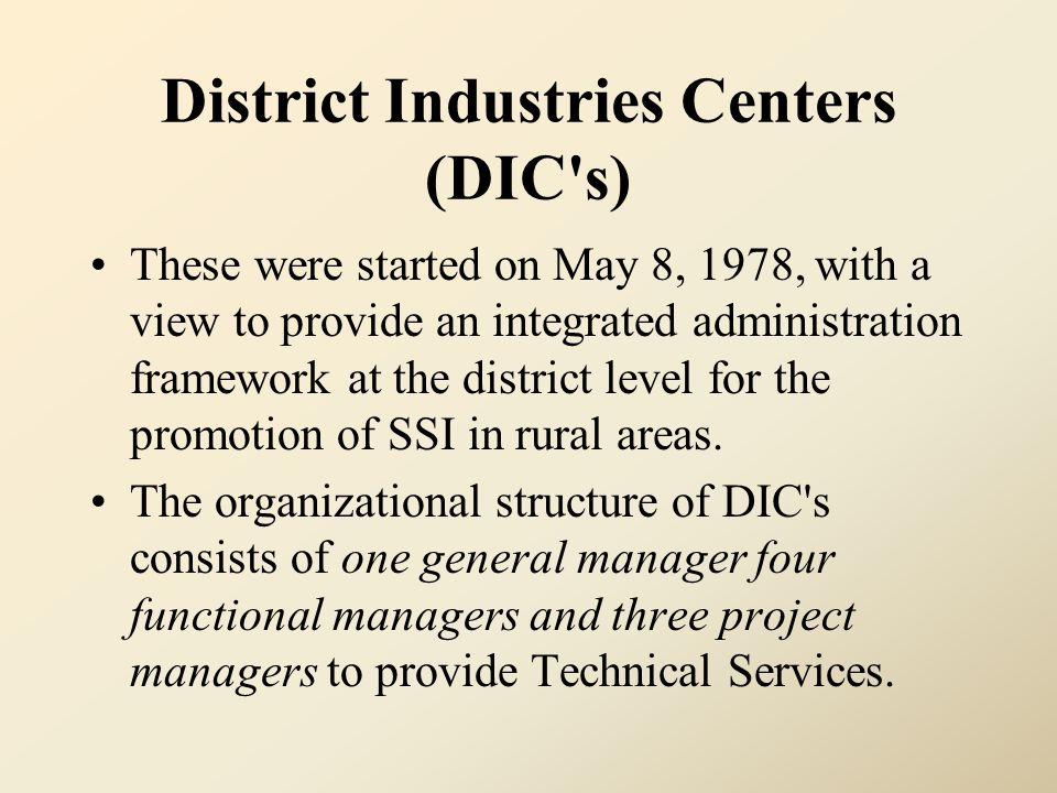 District Industries Centers (DIC s)