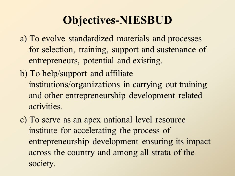 Objectives-NIESBUD