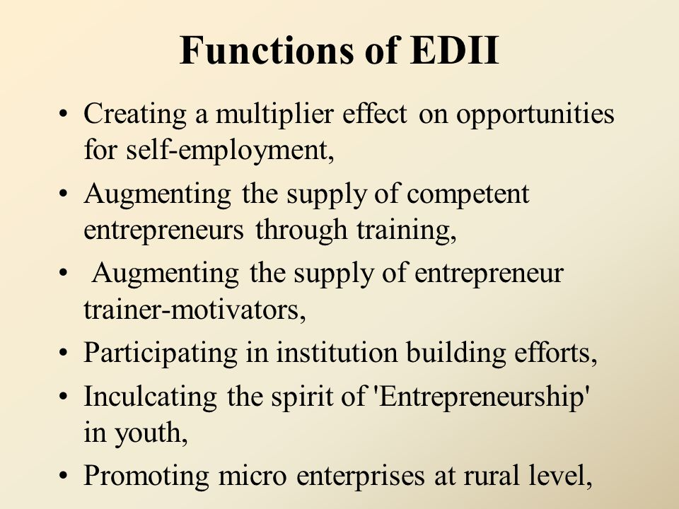 Functions of EDII Creating a multiplier effect on opportunities for self-employment,