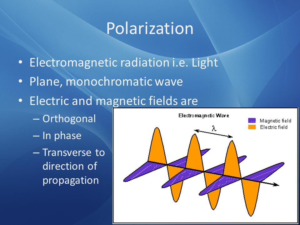 Polarization Electromagnetic radiation i.e. Light