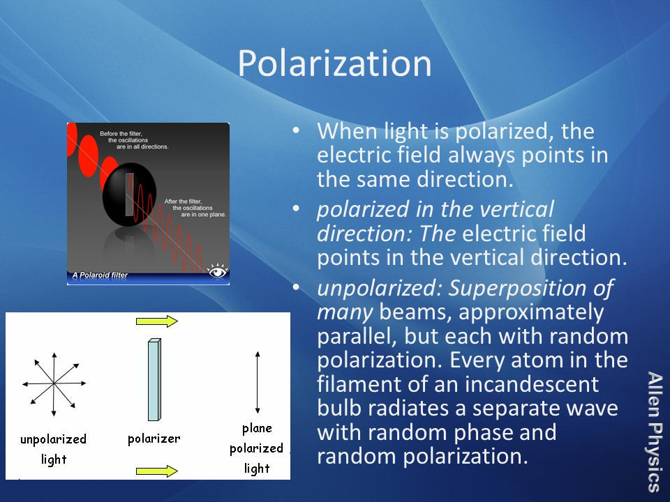 Polarization When light is polarized, the electric field always points in the same direction.