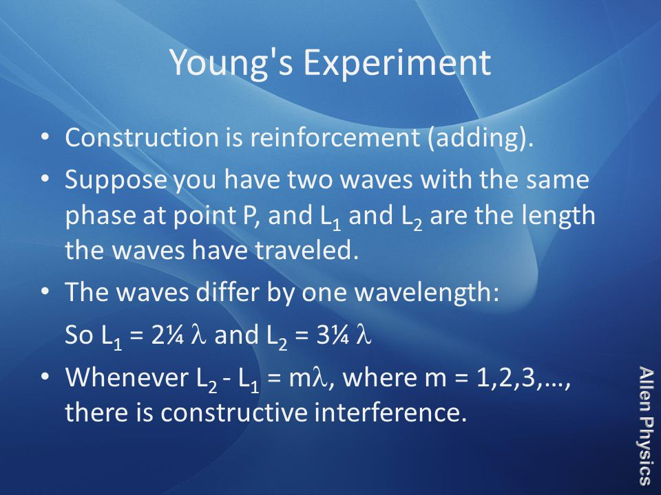 Young s Experiment Construction is reinforcement (adding).