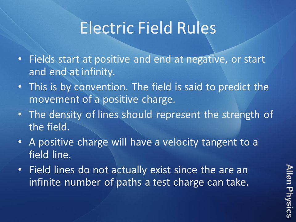 Electric Field Rules Fields start at positive and end at negative, or start and end at infinity.