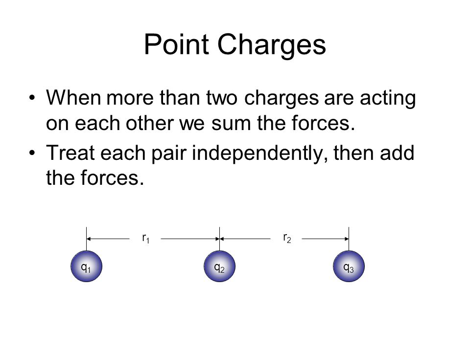 Point Charges When more than two charges are acting on each other we sum the forces. Treat each pair independently, then add the forces.