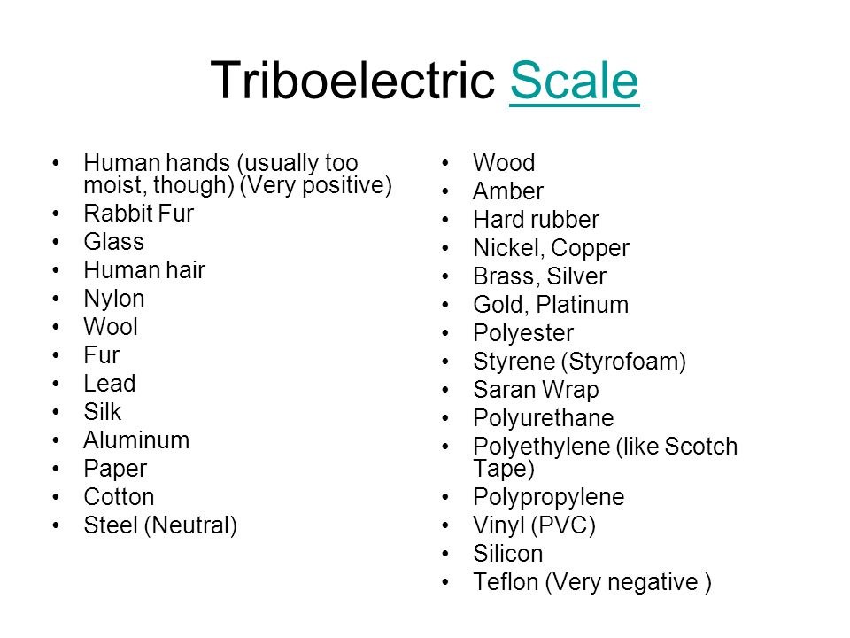 Triboelectric Scale Human hands (usually too moist, though) (Very positive) Rabbit Fur. Glass. Human hair.