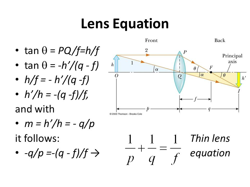 Lens Equation tan q = PQ/f=h/f tan q = -h'/(q - f) h/f = - h'/(q -f)