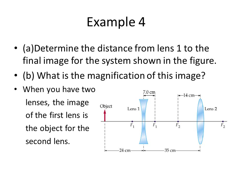 Example 4 (a)Determine the distance from lens 1 to the final image for the system shown in the figure.