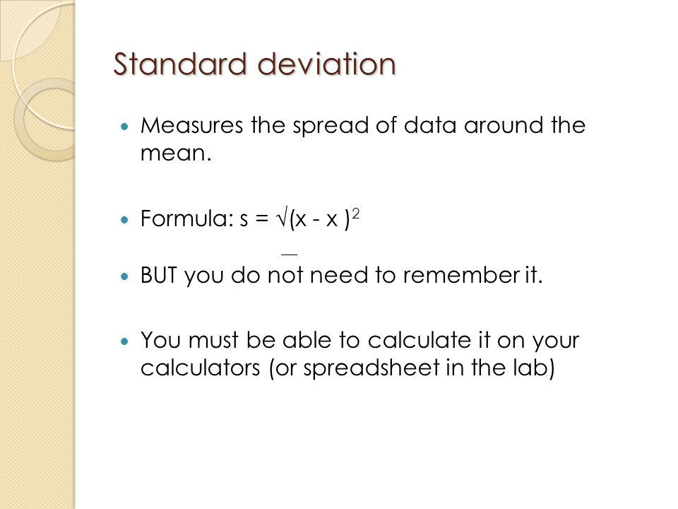 Standard deviation Measures the spread of data around the mean.