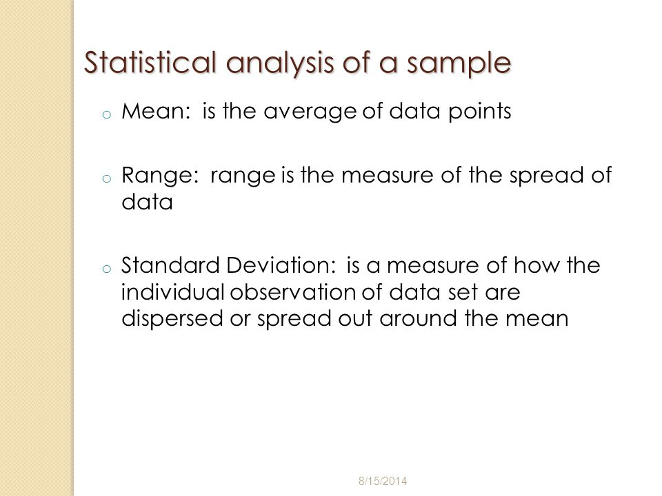 Statistical analysis of a sample