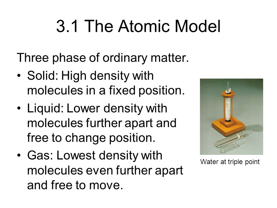 3.1 The Atomic Model Three phase of ordinary matter.